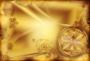 Christmas background with clock and patterns by Lyotta