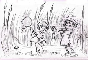 Alex and Adam frog hunting by Temporalvisions