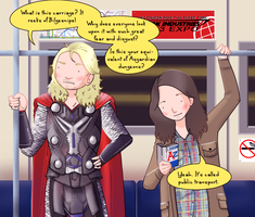 Thor and Jane: London Underground by ice-cream-skies