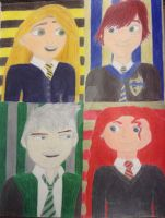The big four at Hogwarts by Flameprincess02