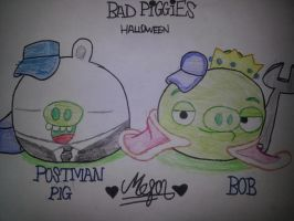 Bad Piggies Halloween: Postman Pig and Bob by MeganLovesAngryBirds