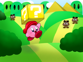 Kirby in Mario World by Coonstito