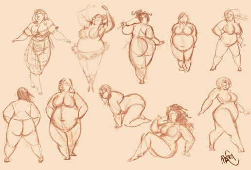 fast and fat sketch by marycry83