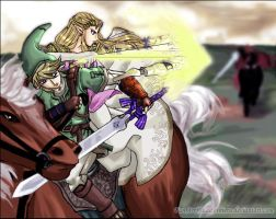 LinkXZelda: Horseback Battle by Nardhwen