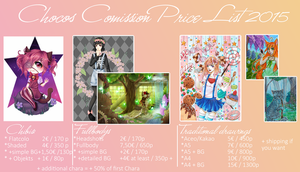 Chocos Comission Price List 2015 by chocobeery