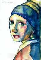 Abstract Water Colour of Girl With a Pearl Earring by blossommanga