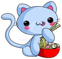 kitty eating ramen by luzhikaru