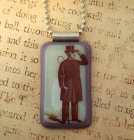 Dapper Gentleman Fused Glass Pendant by FusedElegance