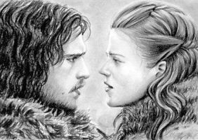 Jon Snow and Ygritte sketchcard by whu-wei