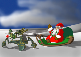 Urgot pulling a sleigh by existence111