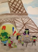 Gangreen Gang at the Eiffel Tower by DarkRoseDiamond123