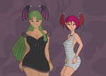 Morrigan and Lilith's Night Out by Caluctor