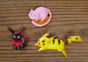 Pokemon Leather Keychains by Samishii-Kami