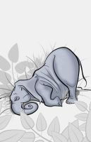 Sleepy Jungle Critter - Elephant by becsketch