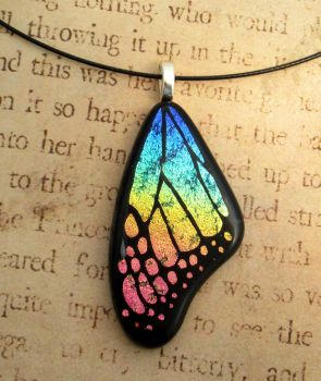 Pink in My Rainbow Glass Wing by FusedElegance