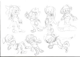 scetches of afew sonic OCs by little-biarce