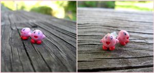 Super Nintendo Kirby Earrings - Videogame Fanart by Tsurera