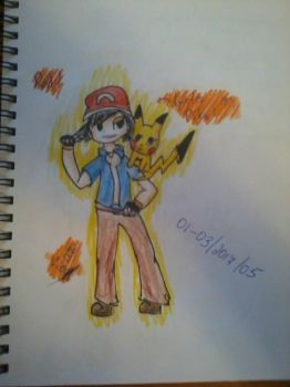 Ash and Pikachu!! by Vinsent31