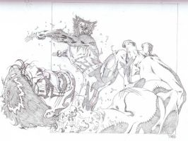 Hulk VS Wolverine sketch by timothygreenII
