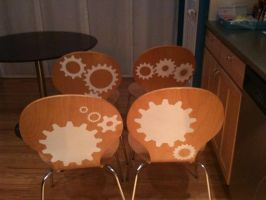 Gear Decals on Dining Chairs by WilsonGraphics