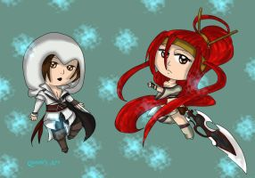 Chibis Ezio and Nariko by x-Dragonqueen-x