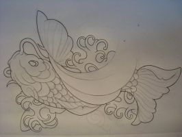 the rising koi outline by samthedrawer