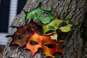 Oak Leaves Handmade Leather Masks by OsborneArts