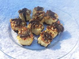 Chocolate caramel pecan cheesecake bites by MadameThibodeau