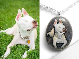 Custom Pit Bull Pendant Necklace by sobeyondthis