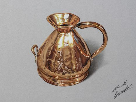 Copper jug DRAWING by Marcello Barenghi by marcellobarenghi