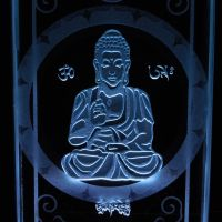 Close up Edgelit Buddha etched glass paperweight by ImaginedGlass