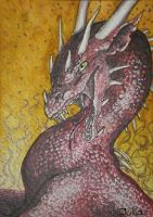 The Furious Red -ACEO- by silverybeast