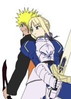 Saber and Naruto side by side by Shugokunisaki