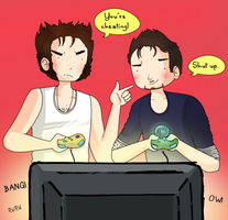 Art trade: Wolverine and Tony: Video games by ice-cream-skies