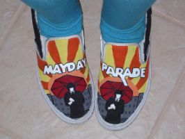 Re-Painted Mayday Parade shoes by albino-grapejuice