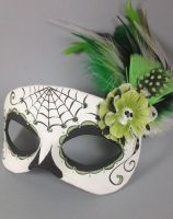 Green and Black Deluxe Day of the Dead Masquerade by maskedzone