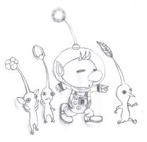 Olimar and Pikmin by MeowMaster789