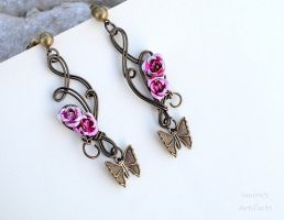 Wire earrings with roses and butterflies by IanirasArtifacts