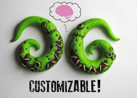 Zombie Gauged Earrings by minionized