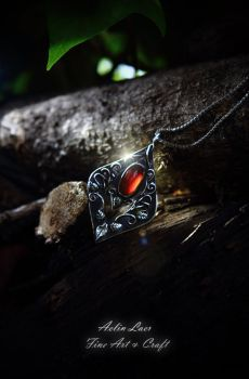 Flame Whisperer silver talisman with Garnet by Gwillieth