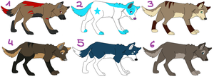 Wolf adoptables TAKEN by xMuddyPaw