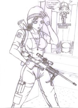 Jill Valentine-Geared up Outline by BIGMANSCO