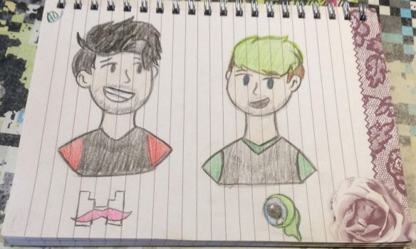 Jacksepticeye and Markiplier sketch  by Disneyamoo