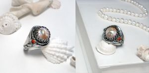 Pearl Crown Ring by Gweyeni