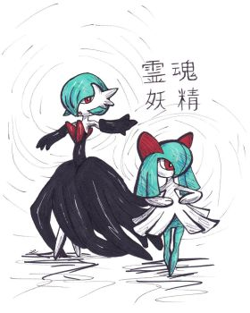 Shiny Mega Gardevoir and Shiny Kirlia drawing by LizChwan