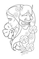 Hannya Mask Tattoo Design by ian-somers