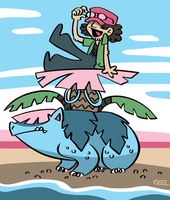 Riding the Pokemons by kittyninjafish