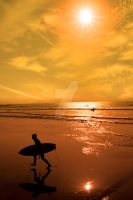 silhouette of surfer walking from the sea by morrbyte