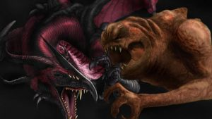 dragon age vs. rancor monster by Kevinusprime