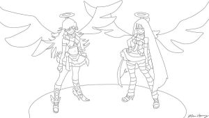 Panty and Stocking Lineart by Purpl3Surreal